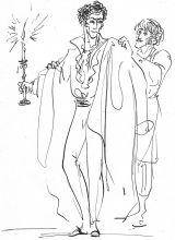 Е.Шипицова. Онегин возвращается домой под утро. Иллюстрация к роману -Евгений Онегин-. 2020. Тушь, перо