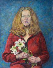 Л.Байрамова. Автопотрет с лилиями. 2011