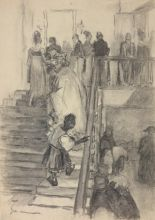 Н.П. Ульянов. Иллюстрация к комедии А.С. Грибоедова «Горе от ума». Гости на лестнице. 1949. Бумага, итальянский карандаш