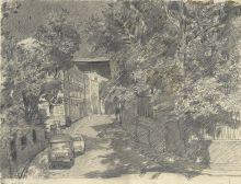 Иван Карамян. Старосадский переулок. 1987. Бумага, карандаш. 48 х 61,5