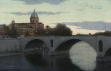 Roma. Ponte Principe Amedeo.32x50 cm, Бумага, акварель, 2018