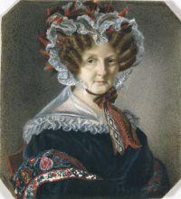Теребенев М.И. Портретная миниатюра. Портрет неизвестной пожилой женщины в чепце. 1831. Бумага, акварель