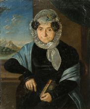Неизвестный художник. Портрет пожилой дамы с книгой на фоне пейзажа. 1820-е гг. Холст, масло