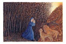 Моника Бейснер. Ад, песнь I, Сумрачный лес. Яичная темпера, бумага, 11x16,5 см