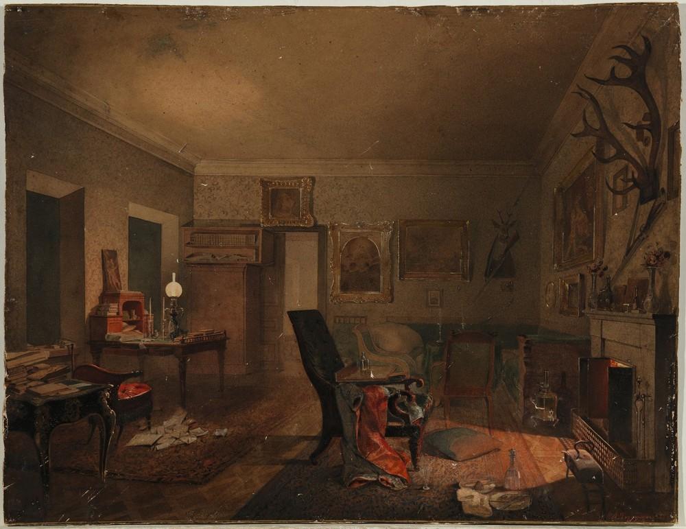 Акварель «Интерьер с охотничьми трофеями» (1853).