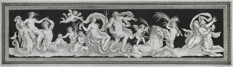 Ф. Бартолоцци по оригиналу Д. Б.Чиприани. Нептун и Амфитрита. 1790-е. Резец, офорт, акватинта.