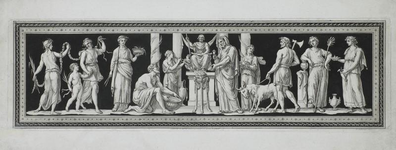 Ф.Бартолоцци по оригиналу Д.Б. Чиприани. Жертвоприношение Юпитеру. 1790-е. Офорт, акватинта.