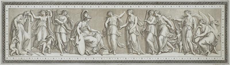 Ф. Бартолоцци  по оригиналу Д. Б. Чиприани Минерва и музы. 1790-е. Резец, офорт, акватинта (оттиск коричневым тоном).