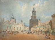 Гертнер /Gaertner/ Иоганн Эдуард Филипп. Внутренний вид Кремля в Москве. 1838. Бумага, акварель, белила.