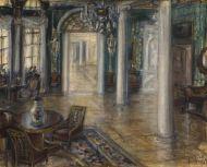 А.В. Средин. Интерьер зала. 1919. Бумага, акварель, пастель.