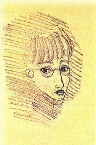 Н. Рушева. Автопортрет в 15 лет. Цветная бумага, монотипия