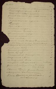 Список книг, взятых А.С. Пушкиным в библиотеке Полотняного Завода в 1834 году. На л. 1 об. последние строчки – приписка рукой А.С. Пушкина.