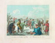 Е.М. Корнеев. Катающиеся на коньках по Неве. 1812. Гравировал И. Кокере. Офорт, акватинта, акварель.