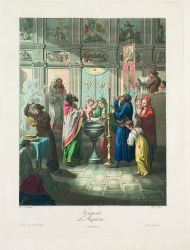 Е.М. Корнеев. Крещение. 1812. Гравировал И. Грос. Офорт, акватинта, цветная печать.