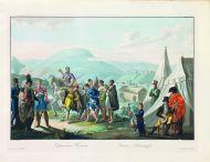 Е.М. Корнеев. Черкесская пляска. 1813. Гравировал Е. Скотников. Офорт, акватинта, цветная печать.