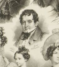 Ф.С. Ханфштенгель по собственному оригиналу 1831. Граф Михаил Юрьевич Виельгорский (1788-1856). Фрагмент литографии. Не позднее 1834.