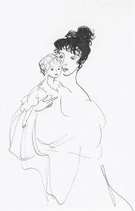 Надежда Осиповна с сыном на руках. 1968. Бумага, тушь, перо. 17,3 х 13,2. Инв. 19094.