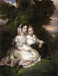 Мальчик и девочка. 1840-е. Неизвестный художник с литографии Леона Нойля (Leon Alphonse Nöel) по оригиналу Ф.К. Винтерхальтера. Холст, масло.