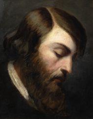 Генрих Гейне. 1797-1856. Середина XIX века (?).Неизвестный художник. Западная Европа. Картон, наклеенный на дерево, масло.