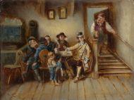 """""""В кабачке"""". 1830-е   середина XIX века. Порхорг? Форхор?  Дерево, масло."""