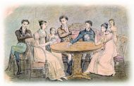 Неизвестный художник. Семья Голицыных за столом. 1830. Бумага, акварель, тушь, перо.