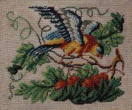 Попугай на ветке вишни.