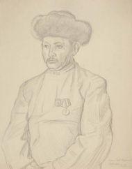 Манасчи Саякбай Каралаев. Бумага, карандаш.