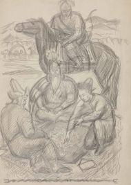Кошой, Бакай и Сыргак играют в альчики. Бумага, карандаш.