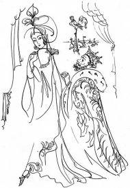 Е.Шипицова. Царь Додон и Шемаханская царица. Иллюстрация к -Сказке о Золотом петушке-. 2020. Тушь, перо