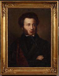 Неизвестный художник, Портрет А.С. Пушкина. Тип О.А. Кипренского. 1860-1880-е. Холст, масло.