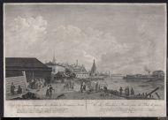 М.Г. Эйхлер.  по оригиналу Ж. Делабарта.  Вид Кремлевского строения в Москве с Каменного  моста. 1799. Резец, офорт.