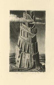 Борис Забирохин. «Бытие».  Калька, карандаш. 2014. И сказали они: построим себе город и башню, высотою до небес, и сделаем себе имя… (Быт. 11: 4)