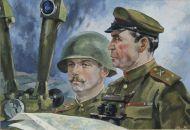 А.В.Николаев Старший лейтенант А.В.Николаев и подполковник Ф.Е.Шаблий на наблюдательном пункте 1991 бумага, гуашь