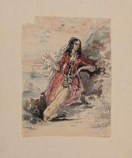 Г. Гагарин. Женщина в восточном костюме на берегу моря. Из альбома Олениных.