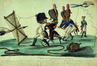 И. Теребенев. Наполеон спускает змея. Карикатура. 1813-1814 гг.