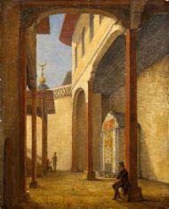 Н.Г. Чернецов. А.С. Пушкин во дворе Бахисарайкого дворца. 1837. Картон, масло