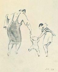 Прогулка. 1957. Бумага, акварель.