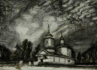 Антонова Л.Л. Тригорское. Церковь св. Георгия. 2011г. Бумага, цв. автолитография.