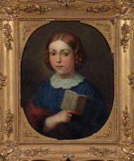 Т.Л-А.Шепкинс. Портрет дочери художника с книгой. 1852. Дерево, масло. ГМП