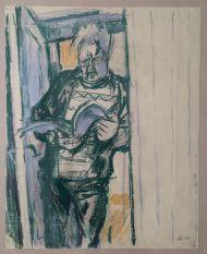 В. Куцевич.  Илларион с книгой. 1999. Бумага, пастель
