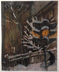 В. Куцевич.  Вечерняя улица. бум. гуашь. 1997.