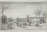 Вход в сад Тюильри со стороны Елисейских полей. Неизвестный гравер. Гравюра офортом. 1800