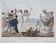 За кулисами Парижской оперы. Неизвестный художник. Гравюра офортом, акварель, белила. 1815