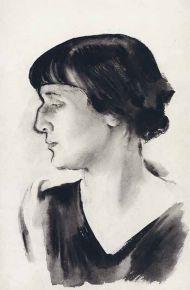 Н. А. Тырса. Портрет Анны Ахматовой. 1928. Бумага, ламповая копоть