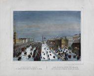 3.  Неизвестный литограф  Петербург. Ледяные горы на Адмиралтейской площади во время масленицы. 1850-е  Бумага, литография, акварель, белила, лак