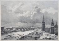 А. Жоли с оригинала О. Кадоля  Москва. Вид Каменного моста от Кремля. 1825  Литография, акварель