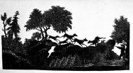 Толстой Ф.П. (1783-1873) Сцена охоты. 1 половина 19 века Бумага белая, бумага черная глянцевая, силуэт.