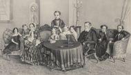 Неизвестный художник. Семейный портрет в интерьере. 1840-е (?). Литография.