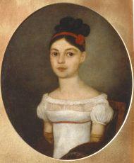 Неизвестный художник.  Портрет Е.Ф. Озеровой. Около 1815. Холст, масло.