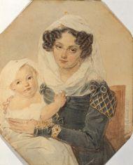 П.Ф. Соколов. 1791-1848.  Портрет княгини М.Н. Волконской с сыном Николаем. 1826. Бумага, акварель, карандаш, лак.